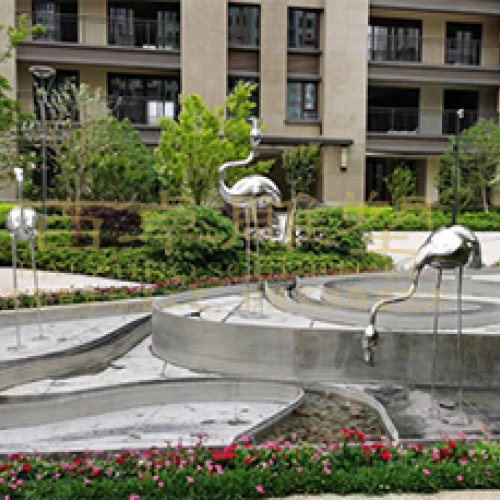 《仙鶴》不銹鋼小區景觀雕塑